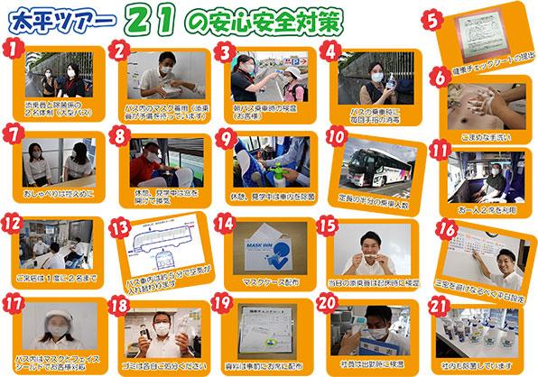 「旅バス.com」運営会社の貸切バスツアーでの「コロナウイルス対策に向けた21の安心対策」